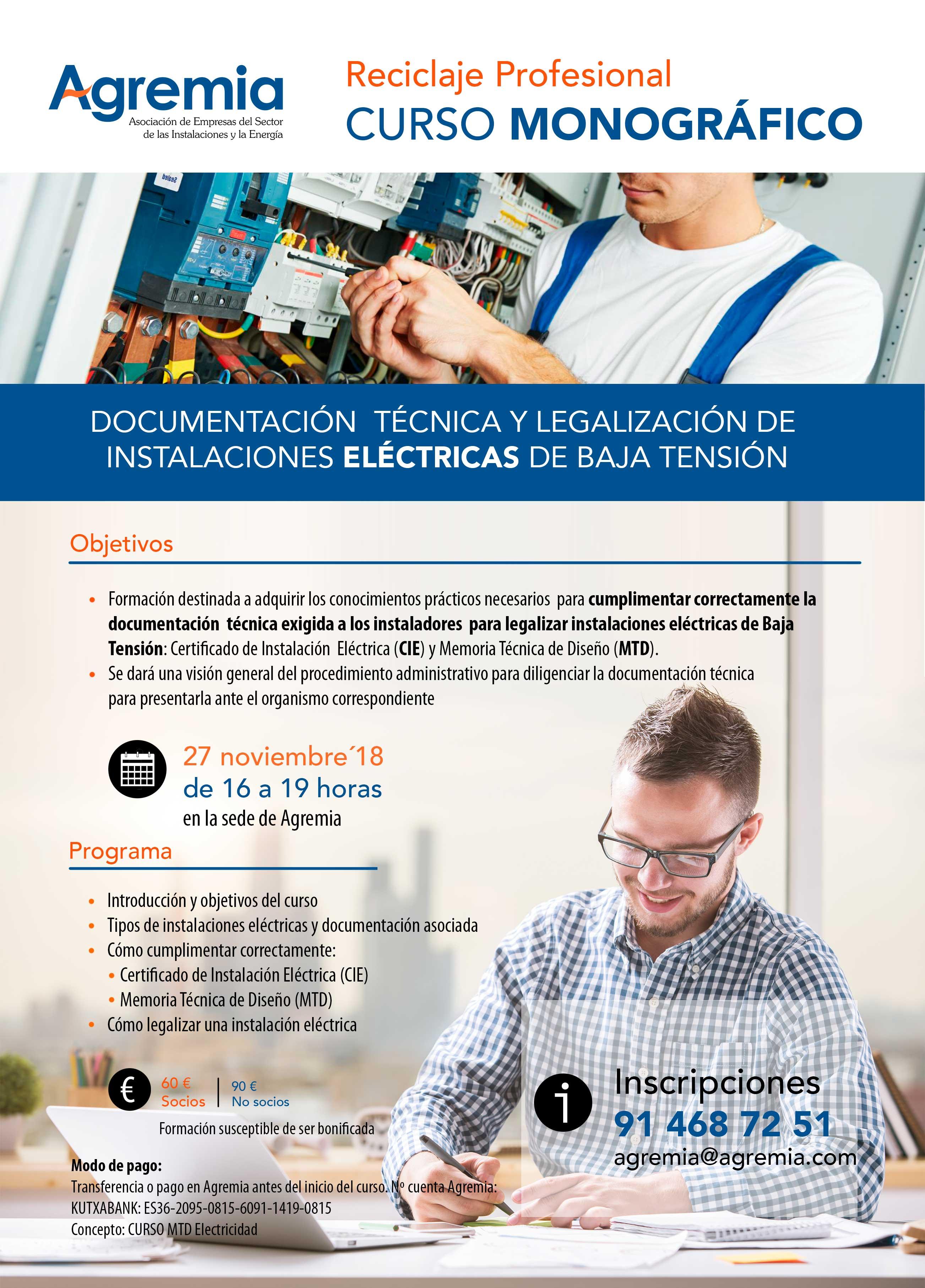 Curso electricidad práctico para saber cómo cumplimentar la documentación técnica y el procedimiento de legalización de la instalación